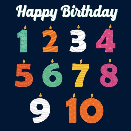 Velas del feliz cumpleaños en números de su partido de la familia. ilustración vectorial