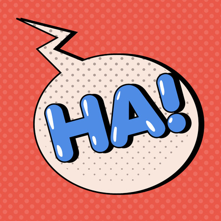 ha: Comic Bubble in Pop Art Style with Expressions Ha. Vector illustration in vintage style