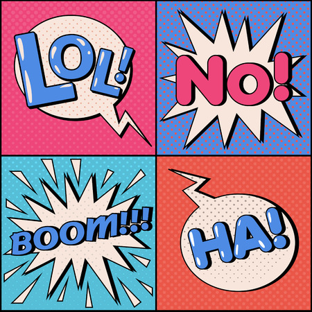 ha: Set of Comics Bubbles in Pop Art Style. Expressions Lol, No, Ha, Boom. Vector illustration in vintage style