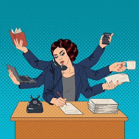 vintage telephone: Business Superwoman Pop Art Banner. Woman with Many Hands Doing a Lot of Things. Vector illustration