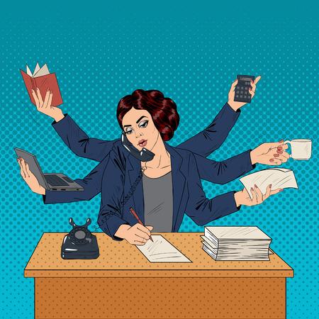 Superwoman negocio del arte pop de la bandera. Mujer con muchas manos haciendo un montón de cosas. ilustración vectorial