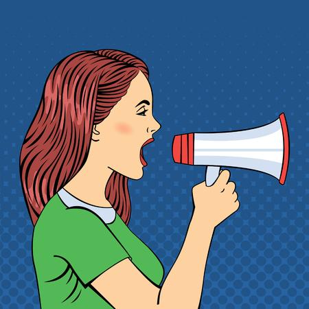 Pop Art Style vrouw schreeuwen in megafoon