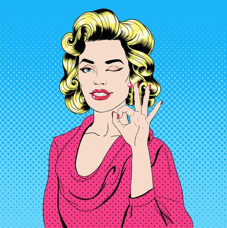 acceptation: Pop Art Style Girl Gesturing Okay Illustration