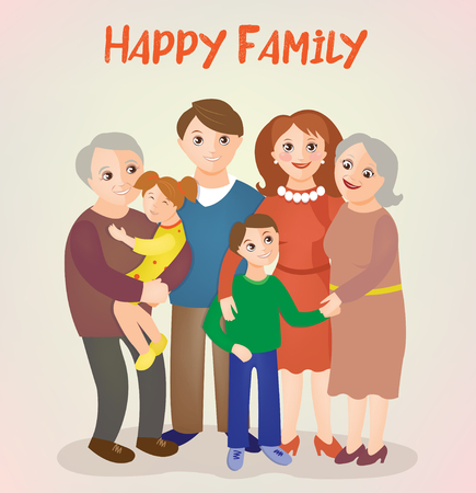 love mom: Happy Family - Parents with Kids and Grandparents. Vector illustration Illustration