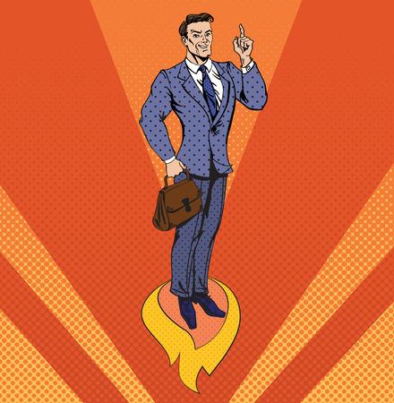 achievment: Businessman in Pop Art Style Star Up Concept. Business Banner. Vector illustration