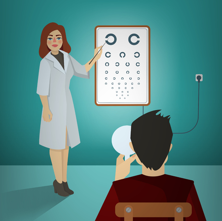 ophthalmologist: Woman Ophthalmologist Examining Patient Using a  Snellen Chart. Vector illustration Illustration