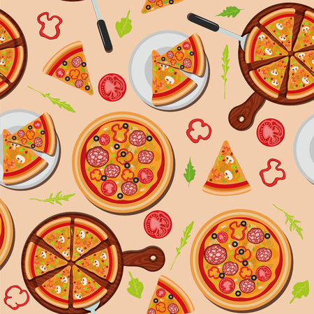 margherita: Pizza Seamless Pattern with Ingredients. Vector illustration