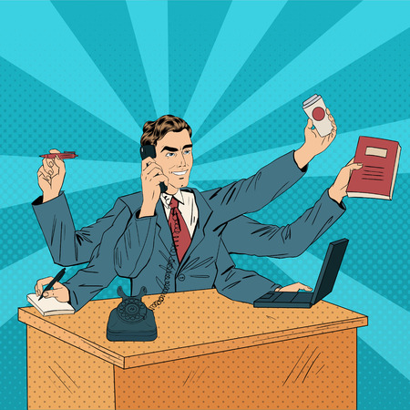 desk job: Business Superman Pop Art Banner. Man with Many Hands Doing a Lot of Things. Vector illustration