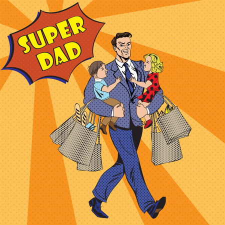 Super Dad with kids on his hands and Shopping Bags. Happy Fathers Day in Pop Art Style. Vector illustration