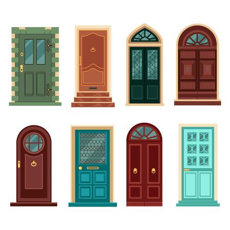 Set of Vintage Doors. Vector illustration in flat style
