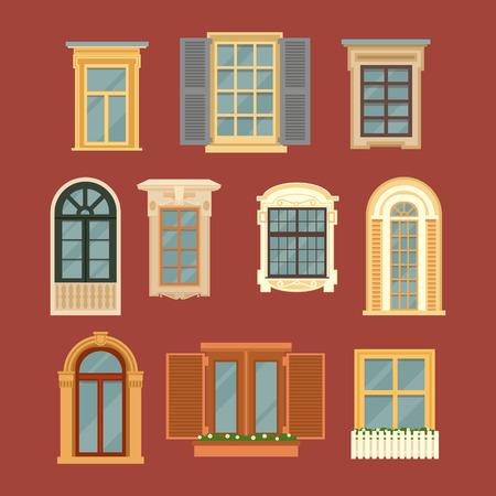 ventanas: Juego de cristal de la vendimia. Ilustración del vector en estilo plano