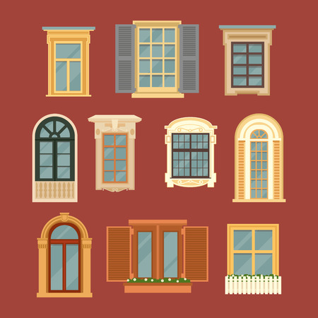 glass window: Set of Vintage Windows. Vector illustration in flat style