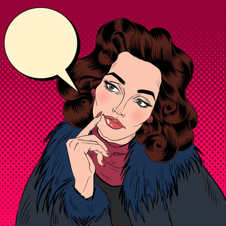 팝 아트 만화 스타일에서 아름 다운 여자입니다. 뭔가 꿈꾸며. 벡터 일러스트 레이 션 일러스트