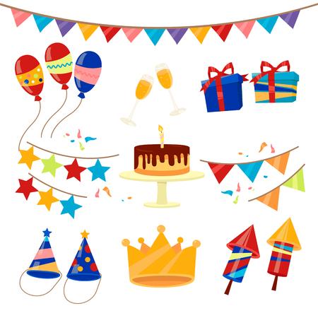 birthday cakes: Happy Birthday Party Celebration Elements Set. Vector illustration