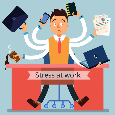 office accessories: Stressed Man at Work with Many Hands and Office Accessories. Vector illustration in flat style