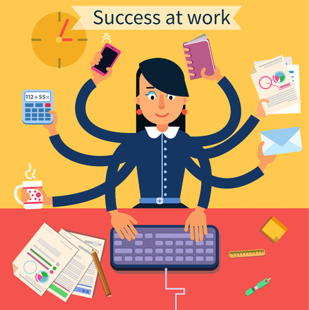 Business Superwoman Banner. Woman with Many Hands Doing a Lot of Things at work. Vector illustration 向量圖像