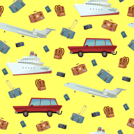 bag cartoon: Traveling Seamless Pattern with Car, Ship and Airplane. Vector illustration