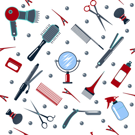 male grooming: Barber and Hairdresser Tools Seamless Pattern. Vector illustration in flat style Illustration