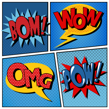 communication icon: Set of Comic Bubbles in Pop Art Style. Vector illustration Illustration