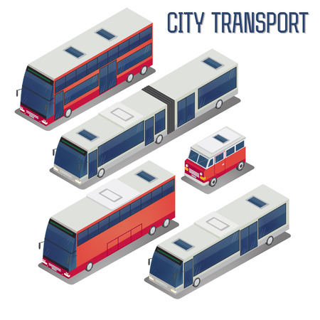 Isometric City Transportation Bus Set. Vector illustration