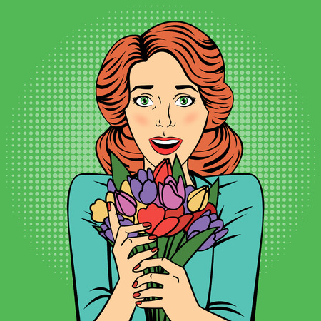 bunch flowers: Pop art Beautiful Woman with Bunch of Flowers. Vector illustration in retro style Illustration