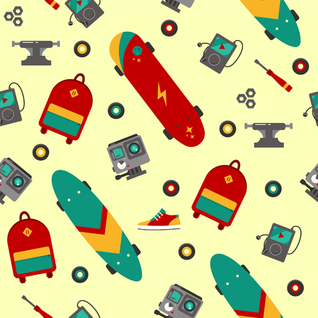 sport background: Seamless Pattern with Skateboarding Accessories. Vector illustration in flat style