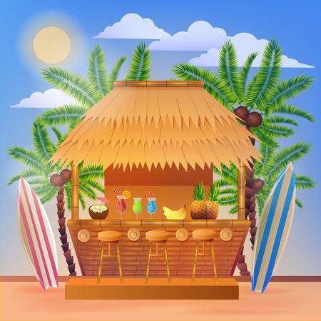 arboles frutales: Bandera tropical de vacaciones con Beach Bar y palmeras. Ilustraci�n del vector para el verano Vectores