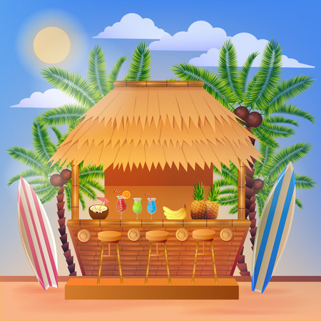 chair cartoon: Tropical Vacation Banner with Beach Bar and Palm Trees. Vector illustration for summertime Illustration