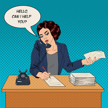 telephone cartoon: Businesswoman Pop Art Banner. Working Woman Speaking on the Phone at Office. Vector illustration