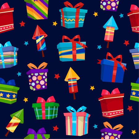 gift paper: Colorful Gift Boxes Seamless Pattern. Vector illustration Illustration