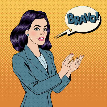 Pop Art Woman Applauding with Expression Bravo. Vector illustration in comics style