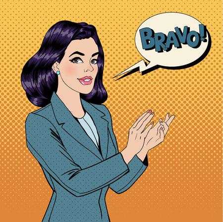 Pop Art Vrouw toejuichen met Expression Bravo. Vector illustratie in strippaginastijl