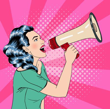 Pop Art Style donna con il megafono. illustrazione di vettore