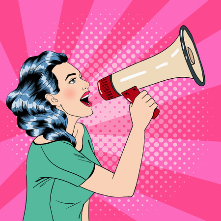 poster art: Pop Art Style Woman with Megaphone. Vector illustration