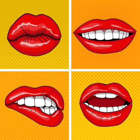 red lips: Lips Set in Retro Pop Art Style. Vector illustration