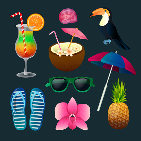 tucan: Tropical Elements Set: Cocktails, Flowers, Sunglasses, Bird, Pineapple. Vector illustration Illustration