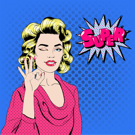 acceptation: Pop Art Woman Gesturing Okay with Expression Super. Vector illustration in comics style Illustration