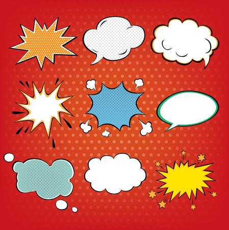 portadas de libros: Conjunto de burbujas de cómics en el estilo del arte pop. ilustración vectorial