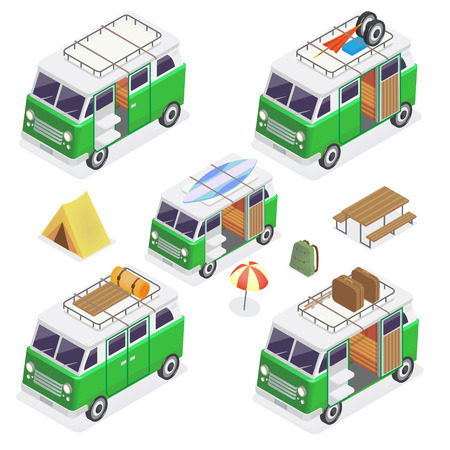 camper: Isometric Camper Set with Different Vans and Camping Equipment. Vector illustration
