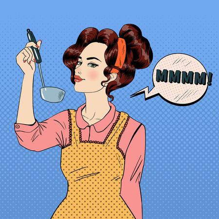 Mujer atractiva en el estilo del arte pop cocina en la cocina. Ilustración del vector en estilo cómico