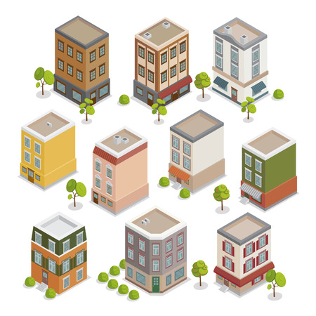 facade and house: Isometric City Buildings Set. European Houses with Trees and Plants. Vector illustration Illustration