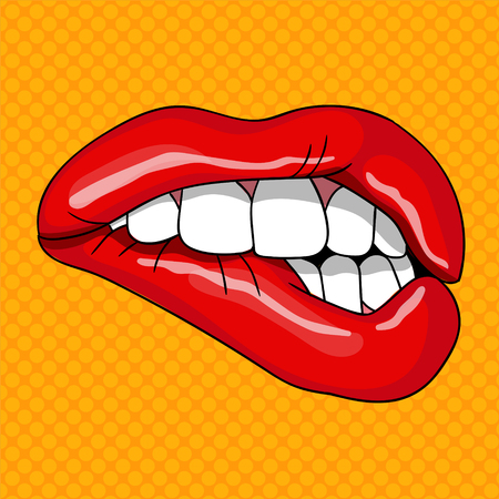 Pretty Female Lips in Retro Pop Art Style. Vector illustration  イラスト・ベクター素材