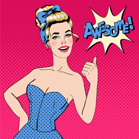acceptation: Pop Art Style Woman Gesturing Great with Expression Awesome. Vector illustration in pin-up style