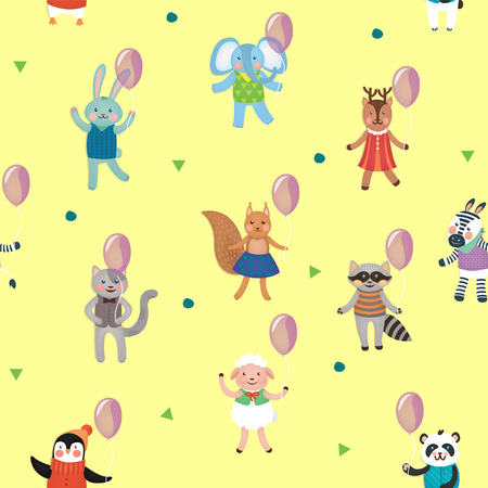 family fun: Birthday Celebration Seamless Pattern with Cute Animals. Vector background Illustration