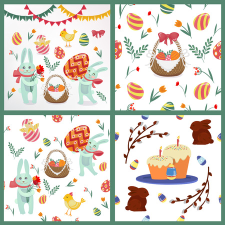 love symbols: Happy Easter Set of Backgrounds and Elements - Rabbits, Eggs, Chicks, Flowers and Garlands. Vector illustration Illustration