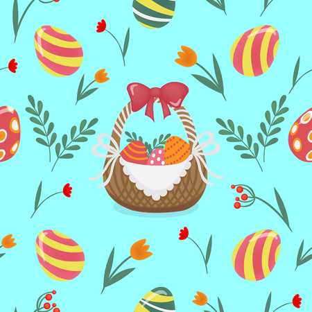 love symbols: Happy Easter Seamless Pattern with Easter Eggs and Flowers. Vector background Illustration