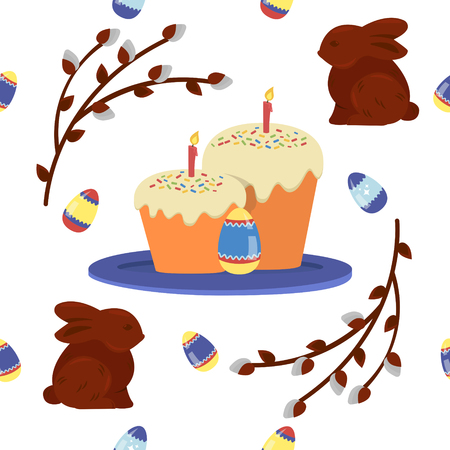 love symbols: Happy Easter Seamless Pattern with Cake, Eggs and Chocolate Bunnies. Vector background Illustration