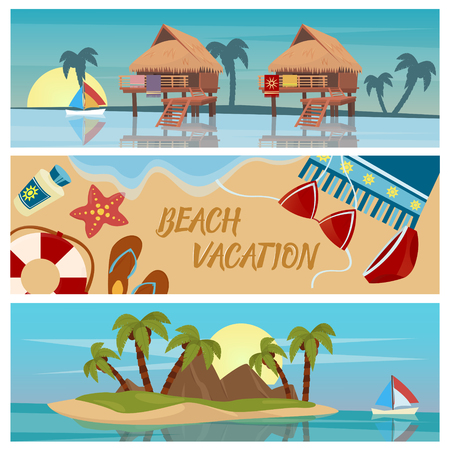 'palm trees': Beach Vacation Horizontal Banners Set with Bungalows and Tropical Island Illustration