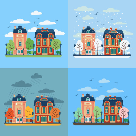 spring summer: European City Urban Landscape with Vintage Houses and Trees in Four Seasons. Vector illustration in flat style
