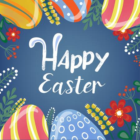 huevo caricatura: Tarjeta de felicitaci�n feliz de Pascua con las letras, los huevos de Pascua y flores. ilustraci�n vectorial Vectores
